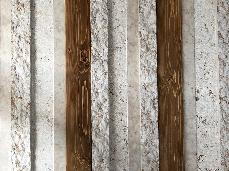 Parete in pietra e legno per interni